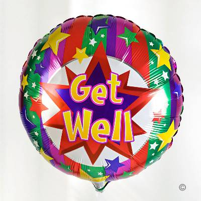 You will certainly cheer someone up with this brightly coloured 'Get Well' worded balloon.  This helium-filled balloon will be tied with ribbon to match and delivered with a gift of your choice, whether that be flowers, plants, soft toys or perhaps chocolates!