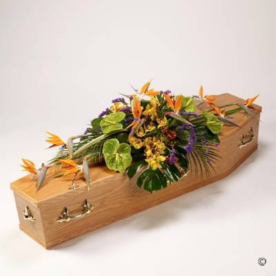 This Casket Spray features a selection of exotic flowers including Strelitzia, Anthurium and Cymbidium Orchids complemented by luxurious foliages including large Monstera leaves and Hypericum berries. Sandra's Florist will skilfully create this funeral tribute designs to dress the coffin top, before carefully hand delivering it.