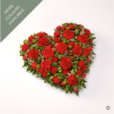 This striking traditional heart-shaped design is created with Carnations and Spray Carnations complemented by luxury foliage. The design is available in a range of colours including Red, White, Pink, Yellow or Orange. Sandra's Florist will skilfully create and carefully hand deliver this expressive tribute.