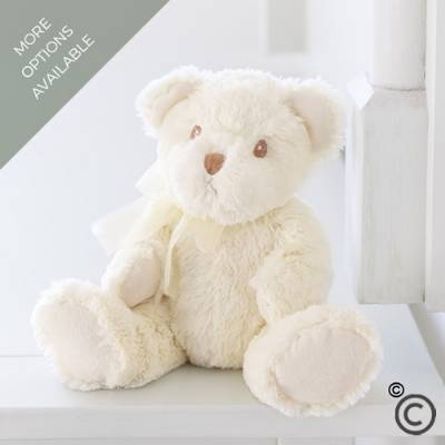 Bailey is a cute cream and white plush bear wearing a co-ordinating white ribbon. The perfect accompaniment to any beautiful flowers from Sandra's Florist, or perhaps, wine, champagne or chocolates. With embroidered brown eyes, he is suitable for all ages from birth upwards and has been tested to the European Toy Safety Directive. Care instructions: hand wash, air dry.