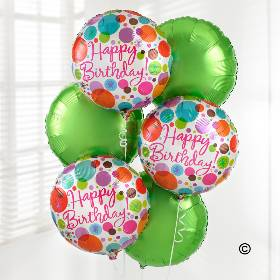 Send your Happy Birthday wishes with this fabulous Happy Birthday Balloon Bouquet. Created with three Bright Green and three 'Happy Birthday' helium balloons, this balloon bouquet is guaranteed to bring a smile to someone's face when Sandra's Florist hand deliver this balloon bouquet.