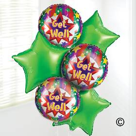 Send your get well wishes with our Get Well Soon Balloon Bouquet. Including three green star-shaped balloons and three cheerful 'Get Well Soon' balloons, this helium balloon bouquet is sure to brighten their day when Sandra's Florist hand deliver this balloon bouquet.