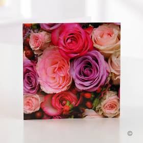 You can make your gift choice even more personal by sending a handwritten card with it – just let us know what you'd like to say and one of our Sandra's Florist team will carefully handwrite your message. This pretty pink rose design is perfect for any occassion. The card is 15cm x 15cm and arrives in an envelope.