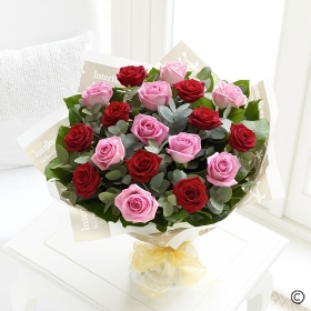 Sending a dozen Red & Pink Roses is a truly beautiful gift! You can relax in the knowledge that Sandra's Florist will select twelve of the finest, large-headed Roses to create a hand-tied bouquet guaranteed to impress.