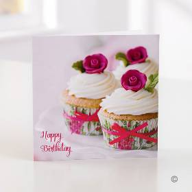 Let us know the personal birthday message you'd like to send and one of the Sandra's Florist team will handwrite it for you. This birthday card features a lovely cupcake design and will be placed in an envelope to accompany your gift choice. The card is 15cm x 15cm.