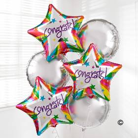 Congratulate someone with a surprise delivery of six helium-filled balloons.  Our Congratulations Balloon Bouquet includes three round balloons and three star-shaped 'Congrats' balloons - Sandra's Florist hand deliver this balloon bouquet a gift they're sure to love!