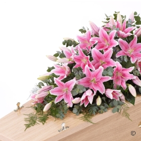 A blanket of Oriental lilies is beautifully complemented by an array of luxurious deep green leaves to create this simple but striking casket spray. This classic spray is available in white, pink or a vibrant selection of mixed colour lilies. Sandra's Florist will skilfully create the design before carefully hand delivering it.