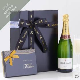 This luxury gift box Features a 75cl bottle of Jules Feraud champagne with a delicious classic selection of luxury chocolates from Maison Fougère – this perfect combination for any celebration will be carefully hand delivered by Sandra's Florist.