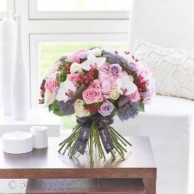 This modern and contemporary hand-tied bouquet of the very finest, premium quality flowers is a luxurious choice that retains a sense of stylish informality too. If they love flowers, they're guaranteed to feel very special receiving this thoughtful gift in pretty tones of pink, cream,lilac, purple and White.  This breath taking bouquet features stunning White/Pink Phalaenopsis Orchid Head, beautiful Pale Pink Hydrangea, a combination of the best quality Pink Large-headed Roses, Lilac Large-headed Rose, a cream/blush peach Large-headed Rose rose, purple trachelium and cream bouvardia with complimenting foliage including folded glossy leaves. This design is expertly hand-tied and presented in luxurious packaging for maximum impact when your gift is carefully hand delivered by Sandra's Florist.