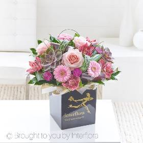 This sumptuous hand-tied evokes an era of vintage glamour with designer touches to elevate it to a truly beautiful design. Sandra's Forist will select distinctive cymbidium orchids in a gorgeous shade of dark blush marry with pale pink roses and an ultra-fashionable succulent to create a timeless design.