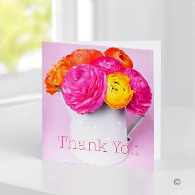 You can make your gift choice even more personal by sending a handwritten card with it – just let us know what you'd like to say and one of the Sandra's Florist team will carefully handwrite your message onto this colourful 'Thank You' gift card. It's sure to bring a smile and make a great addition to your gift. The card is 15cm x 15cm and comes with an envelope.