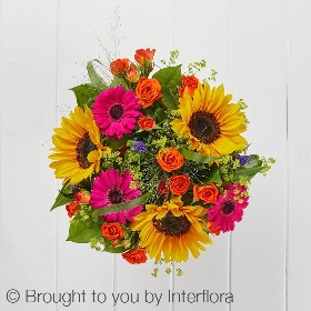 This vase arrangement is bold, bright and beautiful. The professionals at Sandra's Florist will hand create this striking design that includes sunflowers, germini, spray roses and other summer flowers and complimenting foliage with the keepsake cerise lantern vase. A wonderful gift for any occasion.