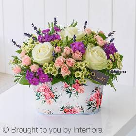 This classic yet en-trend arrangement has a charming summer feel to it. Featuring white large headed roses, pink spray roses and cream spray chrysanthemum it also feature other complimenting summer flowers in lilac and lime green. Foliage including pistache and salal finish off this designs that will be careful arranged by one of the Sandra's Florist skilful team into the floral print tin.